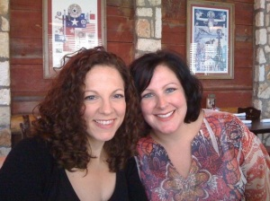 My sister, on the right, and me at dinner before the show