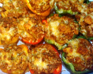 Turkey-stuffed bell peppers with chevre
