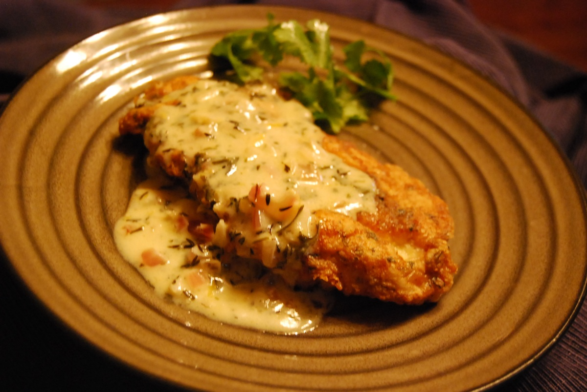 Herb & Parmesan-Crusted Chicken Breast with Lemony White Wine Sauce