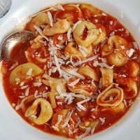 Tortellini-vegetable soup - quick, comforting, good for you!