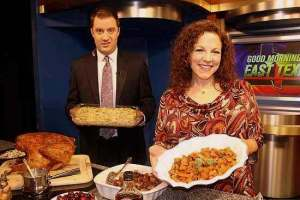 Lane, GMET anchor, doesn't seem too sure about his green bean casserole. My maple-glazed roasted sweet potatoes, on the other hand...  :)