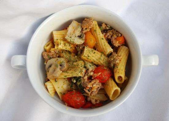 Heart-healthier Italian sausage rigatoni bake