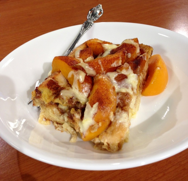 Peaches & Cream French toast casserole