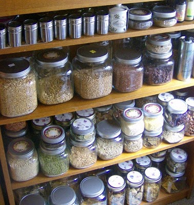pantry of jars by The Happy Raw Kitchen