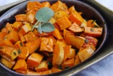 Roasted sweet potatoes with brown butter-sage sauce