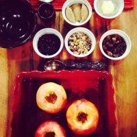 Fruit and nut-stuffed baked apples, and a visit to Sesame Street