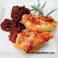 Italian sausage-stuffed shells and Batali's meatballs in red wine-rosemary sauce