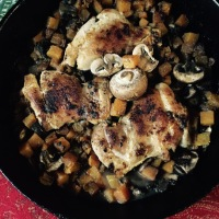 Skillet supper: Chicken thighs with butternut squash-mushroom sauté