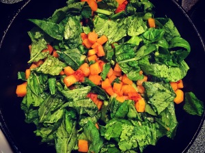 skillet butternut squash and turnip greens inmamastephskitchen.com