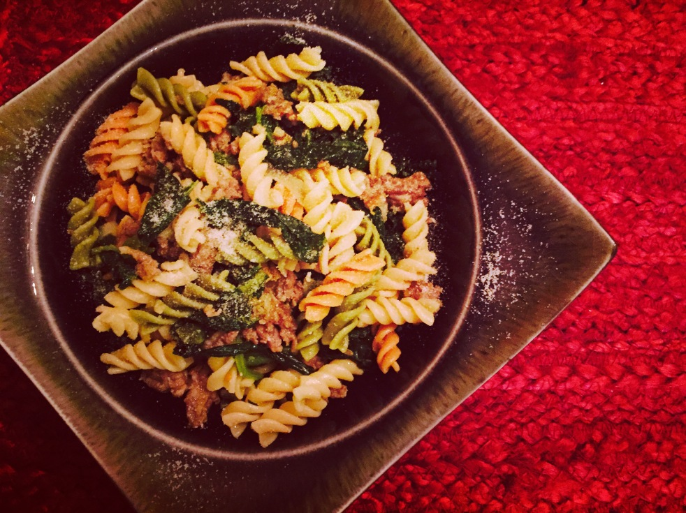 Rotini with sausage and greens